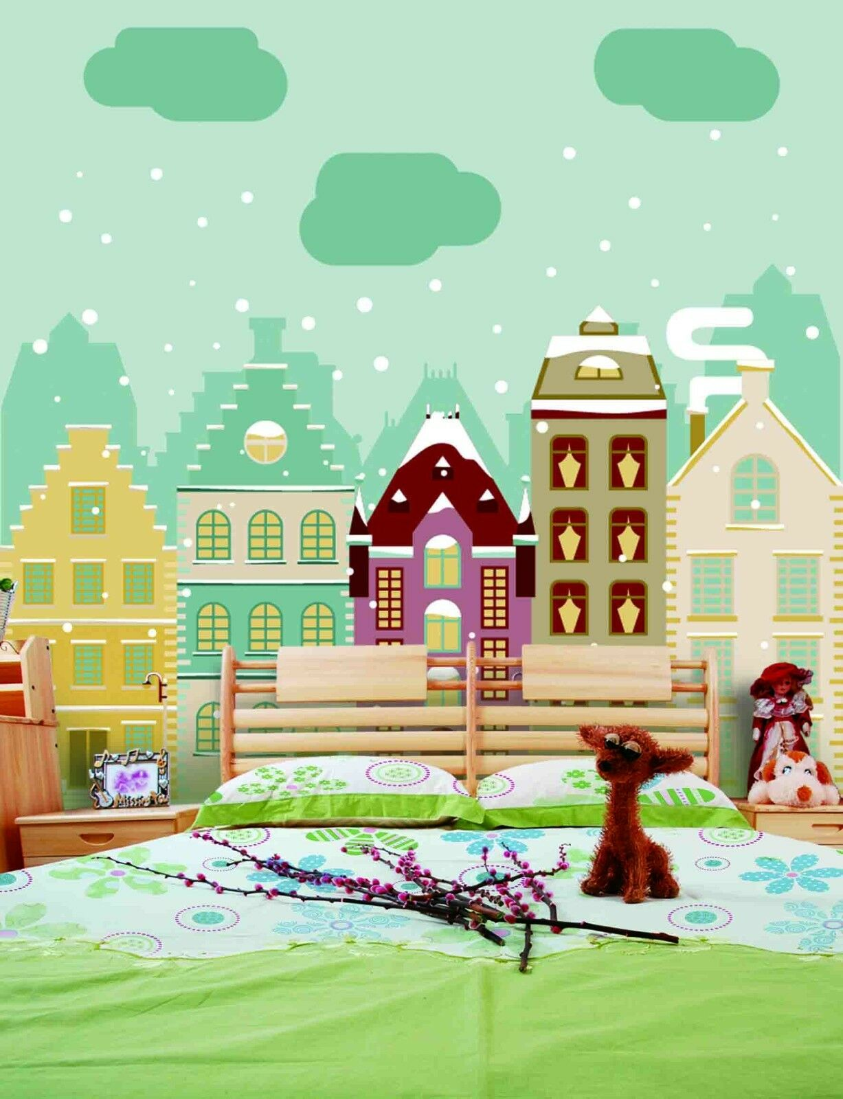 3D Christmas snow city Wall Paper wall Print Decal Wall Deco Wall Indoor Murals