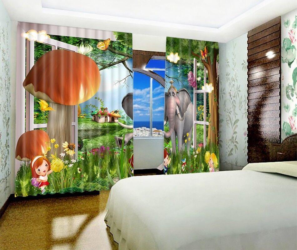 3D Elephant Tree 6 Blockout Photo Curtain Print Curtains Drapes Fabric Window AU