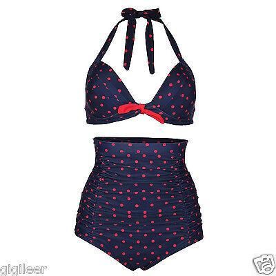 Gigileer Bikini High-Waist Tupfen Retro Damen gepunktet Badeanzug 40 42 44 46 48