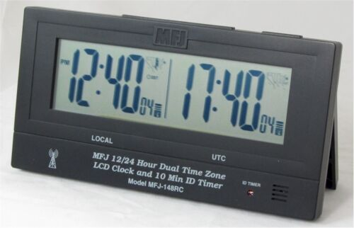 Radio Controlled Atomic With GMT ZONE ID Timer MFJ-148RC Dual Time LCD Clock