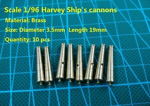 CNC Brass Guns model upgraded scale 1/96 Harvey 1847 wooden ship's cannons 10pcs