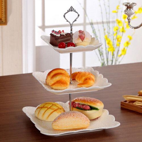 Silver Crown Rod 3 Tier gâteau Cupcake Plaque Support Poignée de matériel de montage support