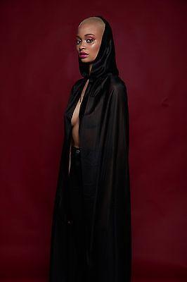 Black Full Length Hooded Cape Halloween Cloak Unisex Phantom Vampire Costume NEW