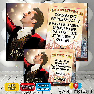 CIRCUS//GREATEST SHOWMAN THEMED PARTY INVITES PERSONALISED PACK OF 10 A6 SIZE