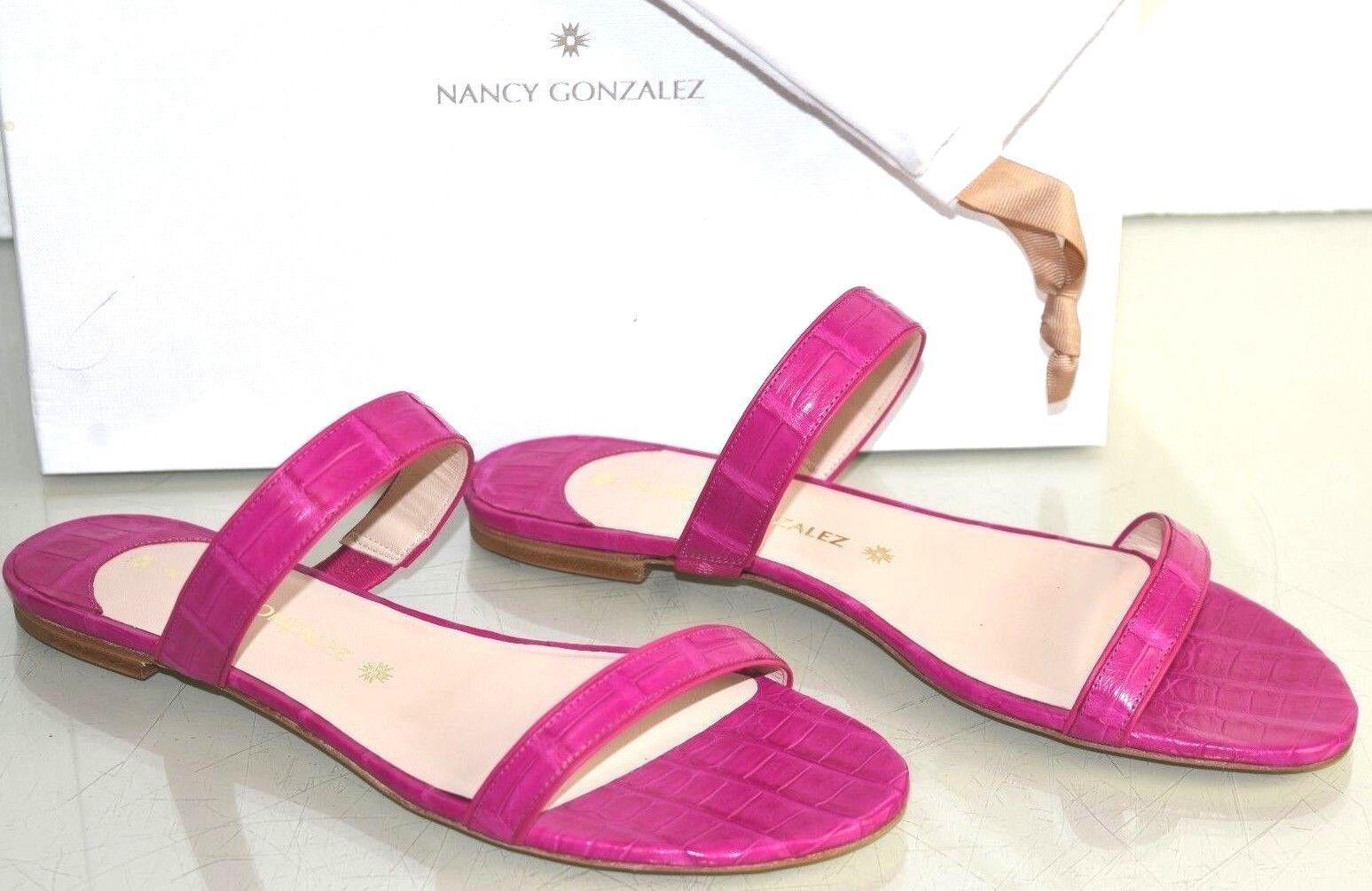 Nuevo Nancy Gonzalez Frida Planos Pinza Cocodrilo Cocodrilo Cocodrilo Desliza Zapatos rosados 41  en linea