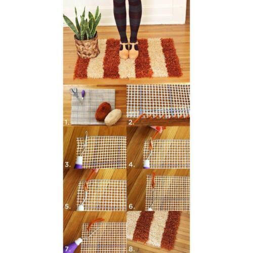 Free Pattern Rug Hooking Mesh Canvas Wooden Bent Latch Hook DIY Kit Tool c