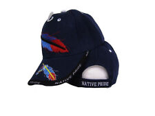 Native American Feather and Beads Native Pride Indian Shadow Blue Ball Cap Hat