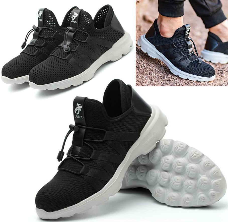 New Men Breathable Slip on Safety Work shoes Steel Toe Cap Sports Sneakers Boots
