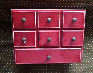 meuble ancien metier rouge layette d'horloger couture petits tiroirs classement