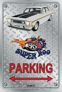Parking-Sign-Metal-Ford-XW-GT-351-Super-Roo-polar-white