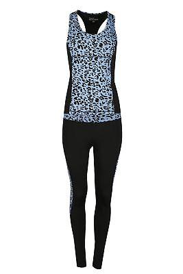 KöStlich Womens Ladies Leopard Sports Running Exercise Vest Leggings Active Wear Kit Set