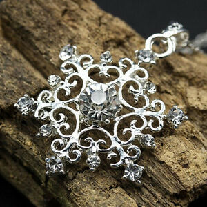 Women-Beautiful-925-Silver-Plated-Cubic-Zirconia-Snowflake-Necklace-Pendant-New