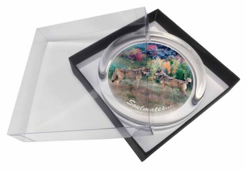 Wolves /'Soulmates/' Sentiment Glass Paperweight in Gift Box Christmas SOUL-84PW