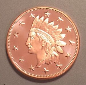1 Oz Copper Coin Native American Indian Series # 2 Copper Bullion Round Coins & Paper Money
