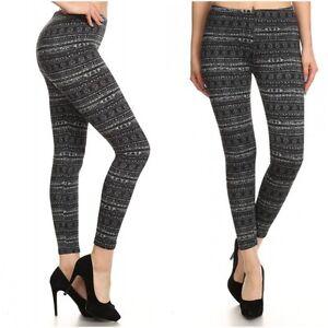 b967eccb343dd Image is loading Fashion-Fleece-Lined-FAIRISLE-PRINT-BRUSH-LEGGINGS-Women-