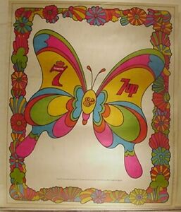 RARE-VINTAGE-SEAGRAMS-7-amp-7-UP-PSYCHEDELIC-BUTTERFLY-POSTER
