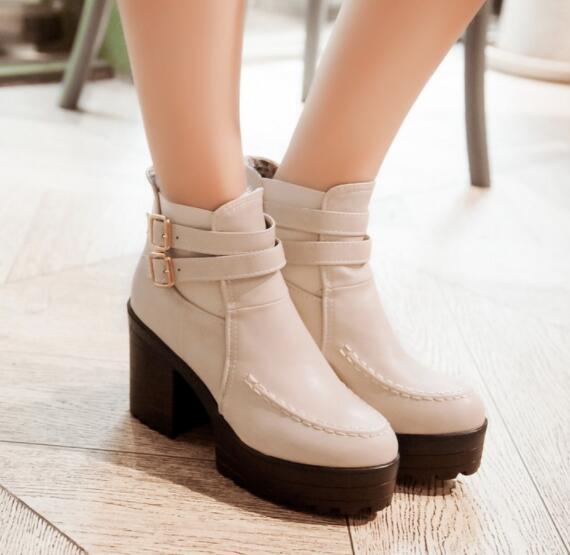 Womens British Sz35-44 Chunky Block High Heel shoes Pu Leather Brogues Fashion