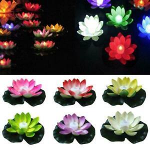 Lotus Form LED Licht Solar Powered Schwimm Brunnen Garten Teich Lampe I8S9