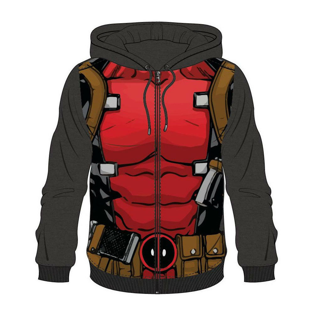 Marvel Comics Deadpool  's Sublimation Zipper Full Length Zipper Sublimation Hoodie Medium 5823ab