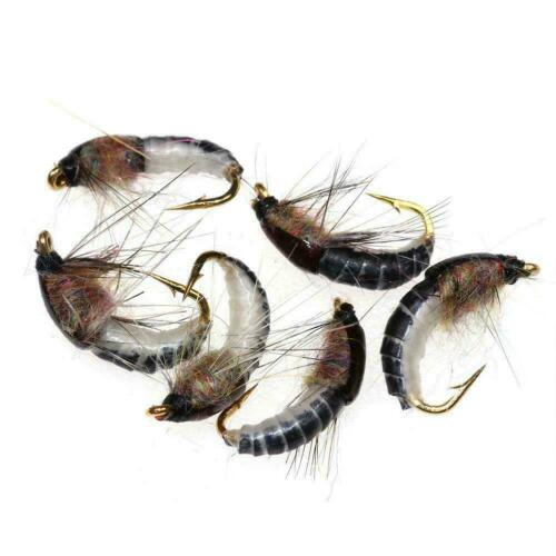 6Pcs #12 Realistic Nymph Scud Fly for Trout Fishing Artificial Insect Bait P9V1