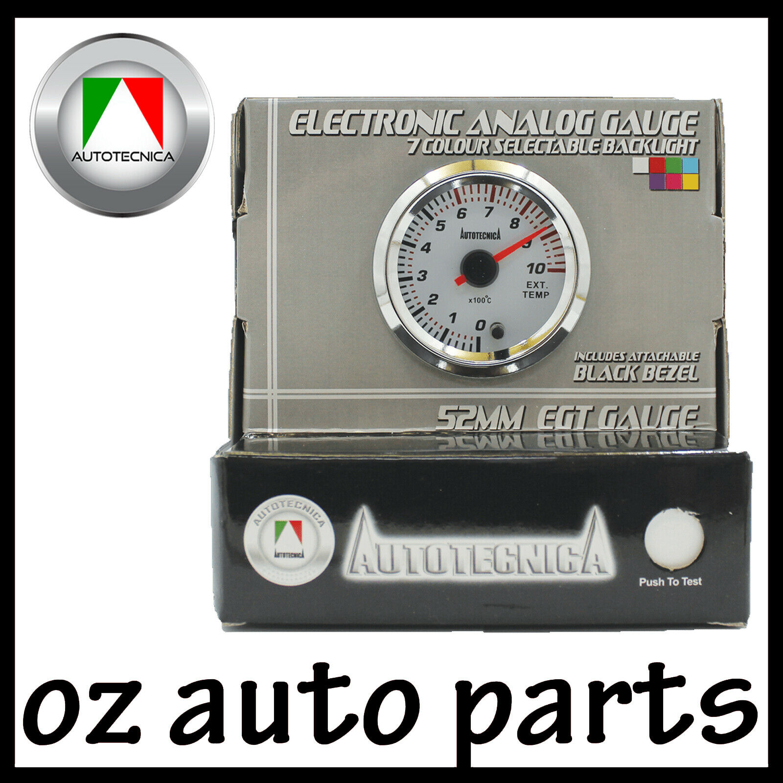 OIL PRESSURE Electronic Analogue White Face Gauge by Autotecnica 52mm 7 Colours