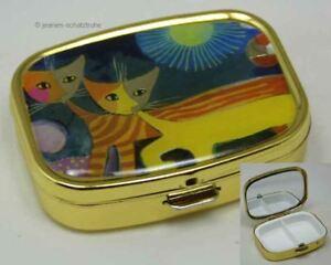 """Pillendose Tablettenbox mit Spiegel R. WACHTMEISTER """"Katzen mit Sonne"""""""