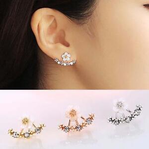 Treny-Women-Jewelry-Flower-Crystal-Front-amp-Back-Ear-Jacket-Stud-Daisy-Earring-WT