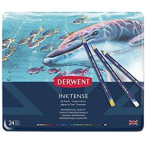 Derwent Colored Pencils, Inktense Ink Pencils, Drawing, Art, Metal Tin, 24 Count