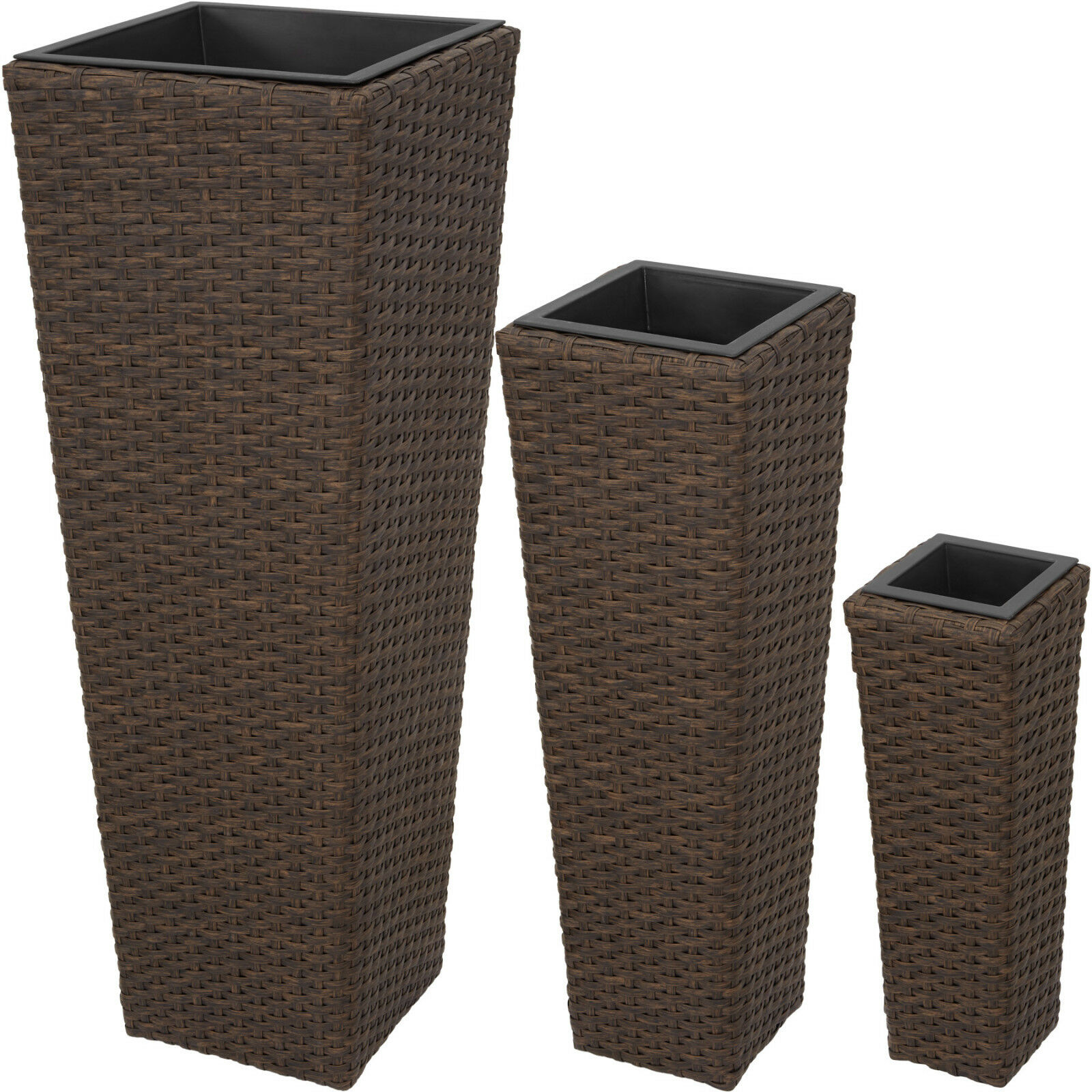 3 x Flower pot set rattan style tube planter plant polyrattan vase antique