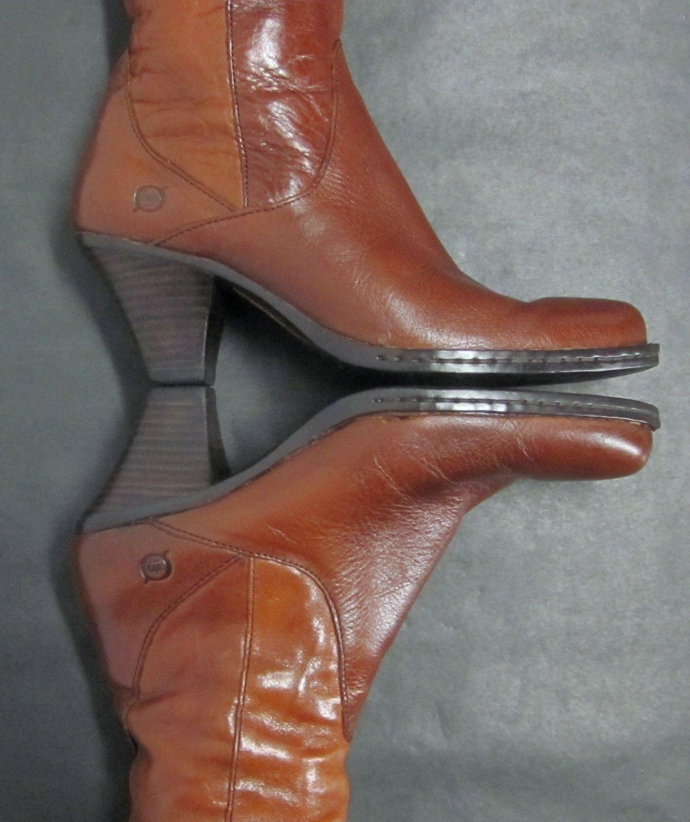 BORN W2424 Damenschuhe (7/38 M/W) TALL BROWN LEATHER KNEE HIGH TALL M/W) INSIDE ZIP Stiefel VGUC db759b