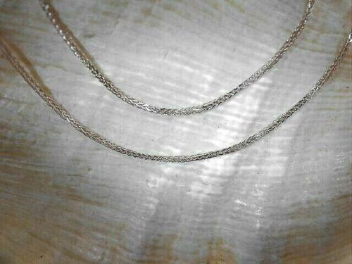 "1.1MM SOLID 14K WHITE GOLD DIAMOND CUT SPIGA SQUARE WHEAT CHAIN NECKLACE 16-24/"""