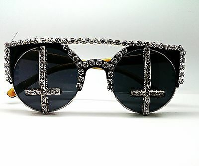 Designer Sunglasses Lady Gaga Rihanna Crystal Crosses Halloween