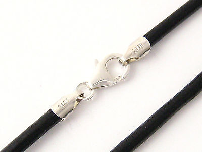 """3mm Black Round Leather Cord Necklace Choker 925 Sterling Silver Clasp 14/"""" 36/"""""""