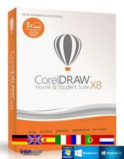 Corel Draw X8 Home & Student 3 PC Vollversion Trainingsvideos DE ML Download NEU