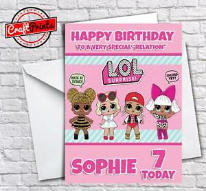LOL dolls personalised A5 birthday card daughter sister granddaughter name age