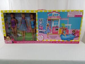 Barbie-Glam-Pool-2-nivel-Casa-con-3-Munecas-Nuevo-Sellado-De-Fabrica