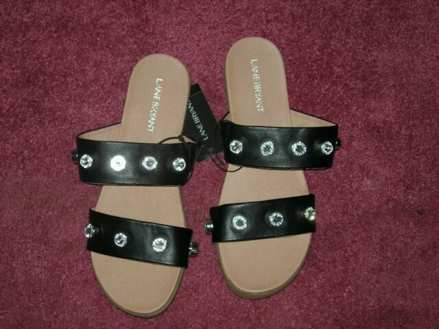 Band Black Sandals w/ Faceted Stones 8W