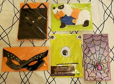PAPYRUS Greeting Cards HALLOWEEN Lot of 5 FALL PUMPKIN SPOOKY GHOSTS GLITTER