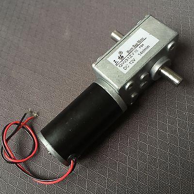 1x DC12V 14RPM 8mmx13mm Double Shaft  Worm Geared Motor GW31ZY