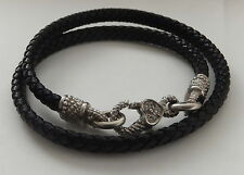 18ct Gold Diamond Leather Designer JUDITH RIPKA Heart Necklace  Choker Chain