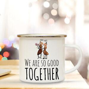 Selbstlos Emaille Tasse Becher Kaffeebecher Ameisen Paar Spruch ...so Good Together Eb50 Trinklerntassen & -becher