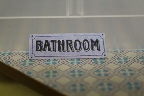 petit métal signe = salle de bain Porte Signe Maison de Poupées