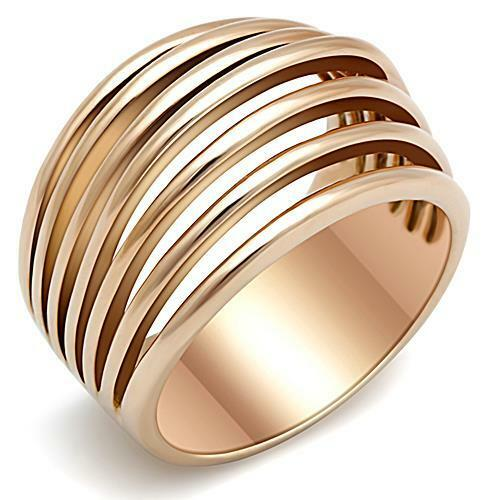 Womens-Pink-Rose-gold-GP-Stainless-Steel-Wide-Band-Dome-Emo-Ring-sz-5-10