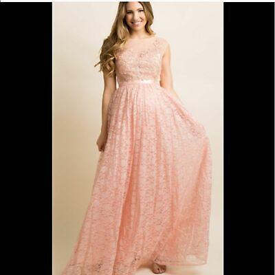 Pinkblush Floral Lace Peach Pink Overlay Maternity Maxi Dress Ebay