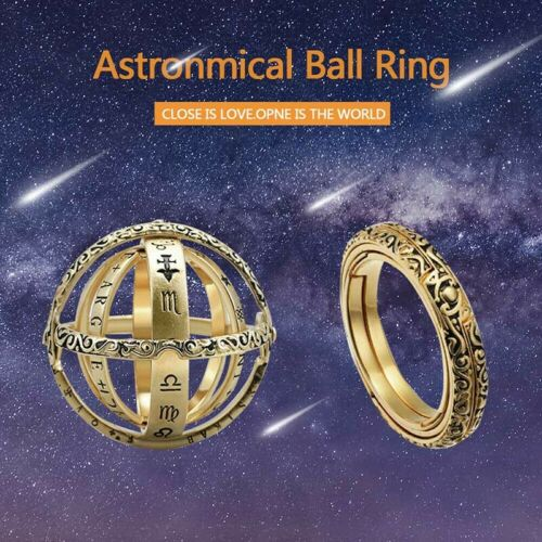 Astronomie Sphere Boule Anneau Cosmic Finger Ring Couple amant cadeau luckyfine