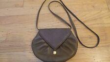 Oscar de la Renta Brown Ostrich Leather Crossbody Small Handbag Pouch Purse