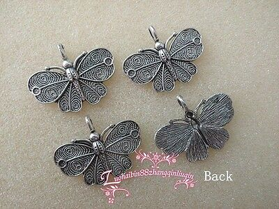 5pc Retro Tibetan Silver Charms beautiful butterfly Accessories  OP117