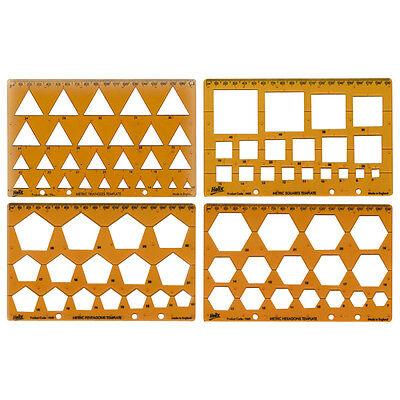 Helix Shape Template Set Triangle Ref H60010 4 pack Square Hexagon Pentagon