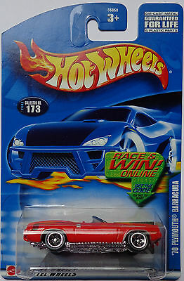 2002 Hot Wheels /'70 PLYMOUTH BARRACUDA #173 ∞Race /&Win ∞ red ; 5 sp