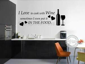 Kitchen Wall Sticker Quote Love To Cook With Wine Funny Cooking - Citation sur la cuisine
